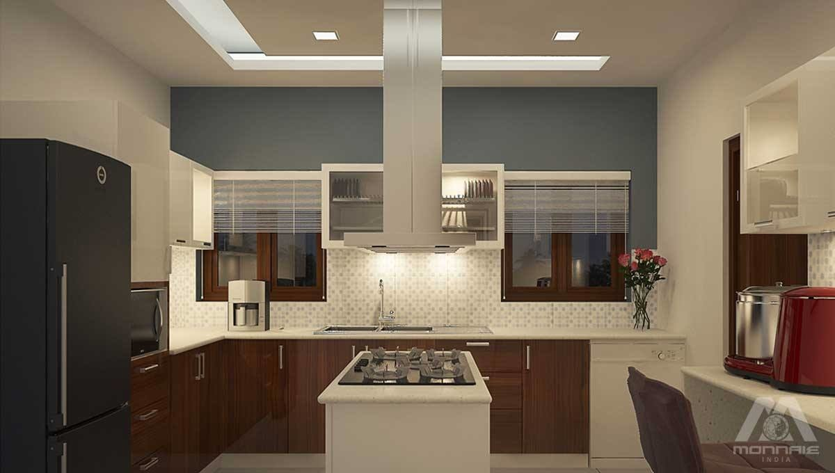 L Shaped kitchen with brown cabinets  and false ceiling by Monnaie Architects Modular-kitchen Modern | Interior Design Photos & Ideas