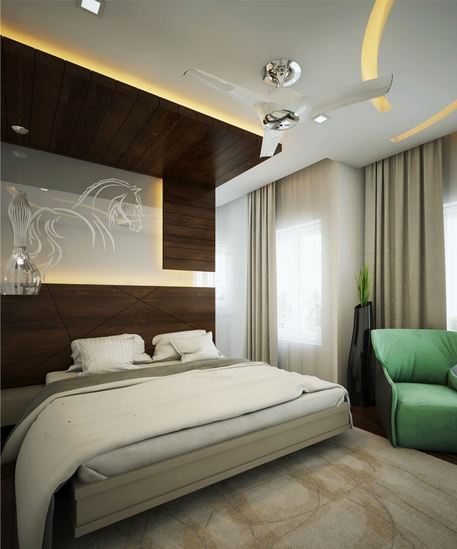 King Size Bed with Wooden False Ceiling and Green Sofa by Monnaie Architects Bedroom Contemporary   Interior Design Photos & Ideas