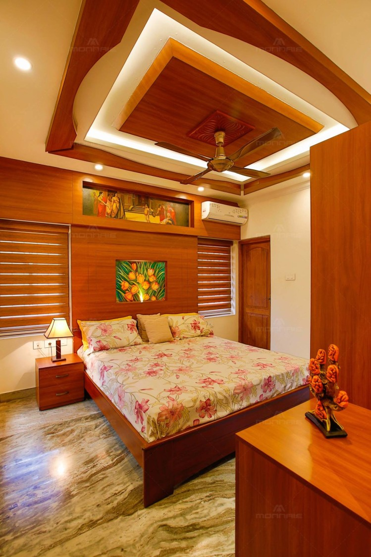 Wooden Themed Bedroom with Queen Size Bed and Marble ...