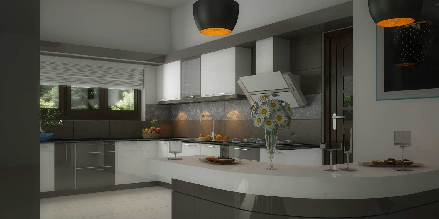 l shaped modular kitchen with grey and white cabinets