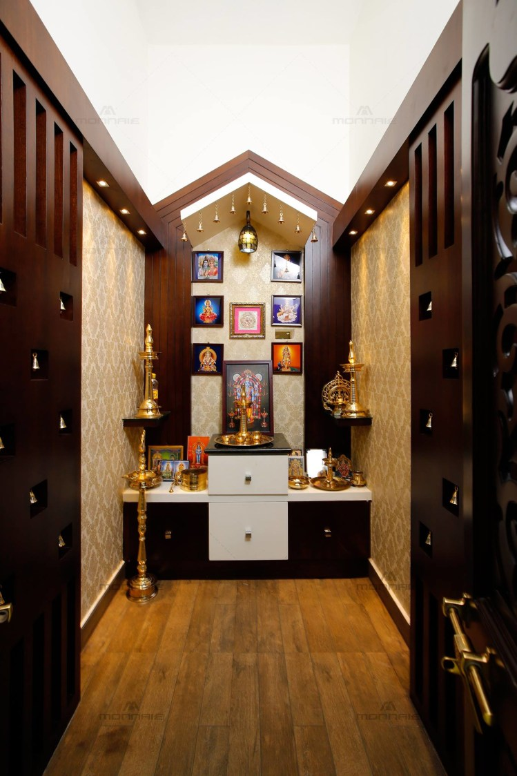 Prayer Room with Fine Wood Work and Wooden Flooring by Monnaie Architects Indoor-spaces Traditional | Interior Design Photos & Ideas