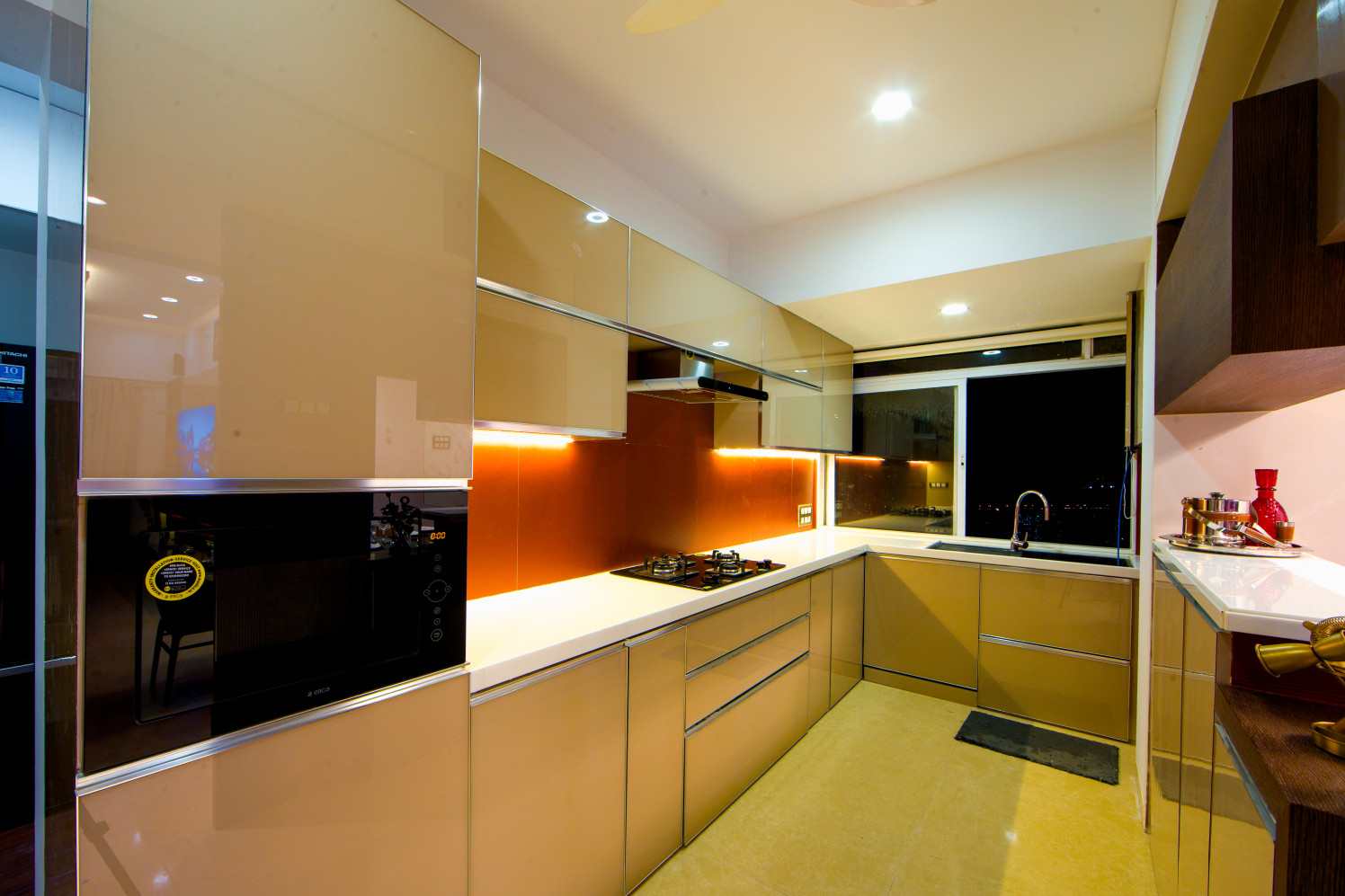 Black and White Themed Modular kITCHEN by Yogesh