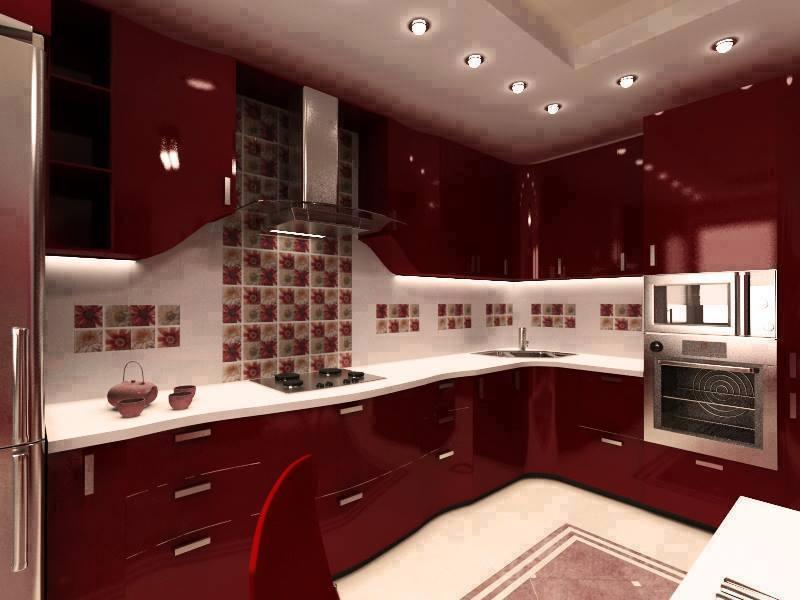 maroon shaded modular l shaped kitchenjs interior