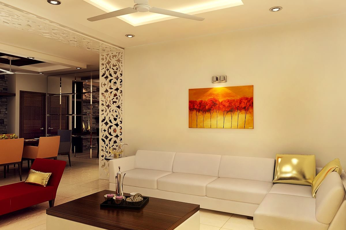 L Shaped Cream Sofa With Artistic Separator by Mauve & Crimson ...