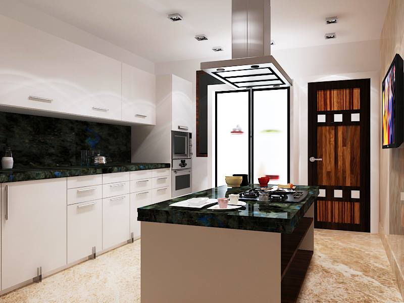 Island Modular Kitchen with Modern Chimney and Granite Counter Top by Mauve & Crimson Interior Solutions Modular-kitchen Modern | Interior Design Photos & Ideas