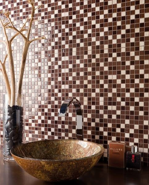 Mosaic Finished Wash Basin with Toiletries by Mauve & Crimson Interior Solutions Bathroom Modern | Interior Design Photos & Ideas