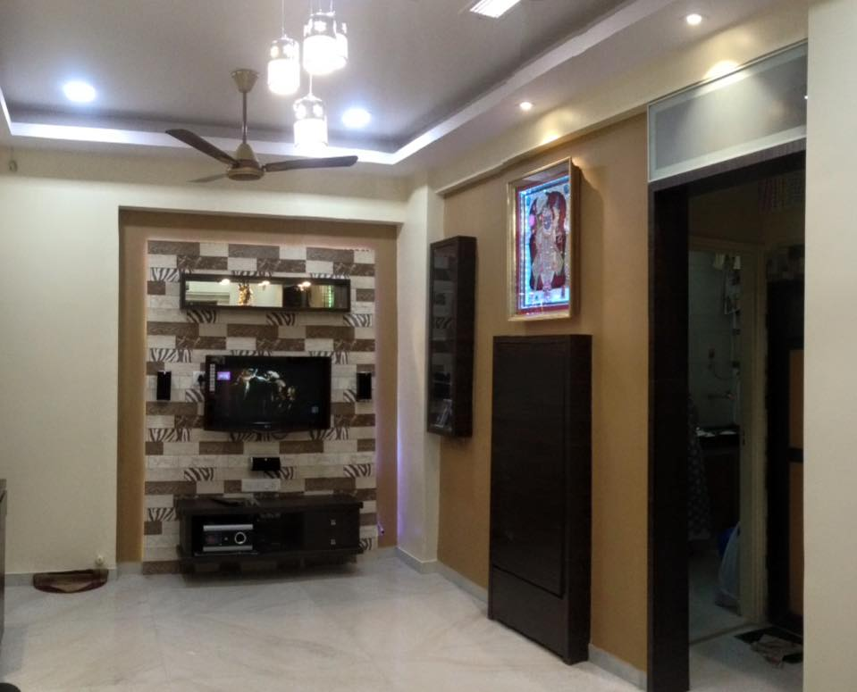 Tv cabinet with wall design by K D Mistry Interior Living-room Modern | Interior Design Photos & Ideas