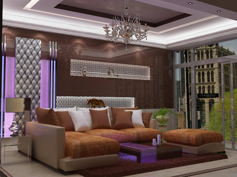 Vintage Chandelier And Sectional Sofa With Soft Rug In Living Room by Delixi Designs Living-room Eclectic | Interior Design Photos & Ideas