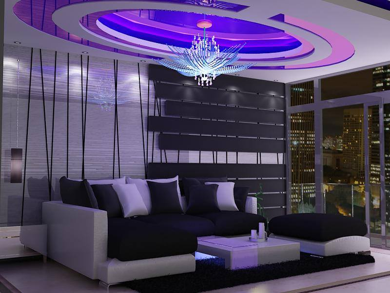 Round False Ceiling And Sectional Sofa With Wall Art In Living Room by Delixi Designs Living-room Modern | Interior Design Photos & Ideas