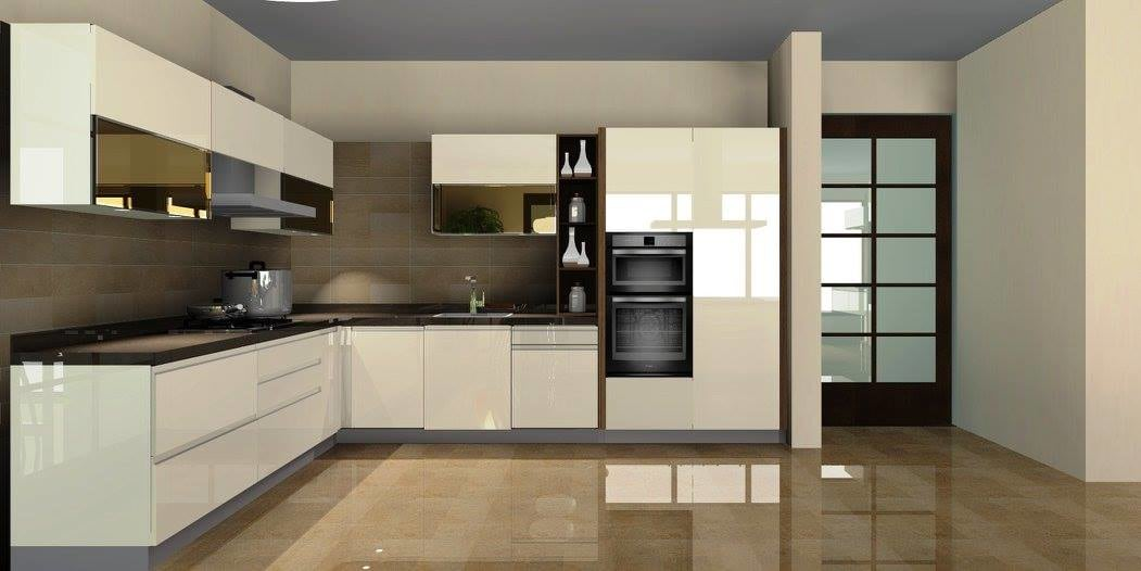 L-Shaped Modular Kitchen With Wooden Cabinets by Delixi Designs Modular-kitchen Modern | Interior Design Photos & Ideas