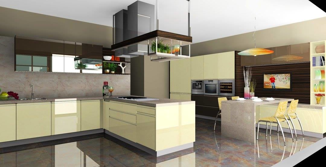 U-Shaped Kitchen With Yellow Cabinets by Delixi Designs Modular-kitchen Modern | Interior Design Photos & Ideas