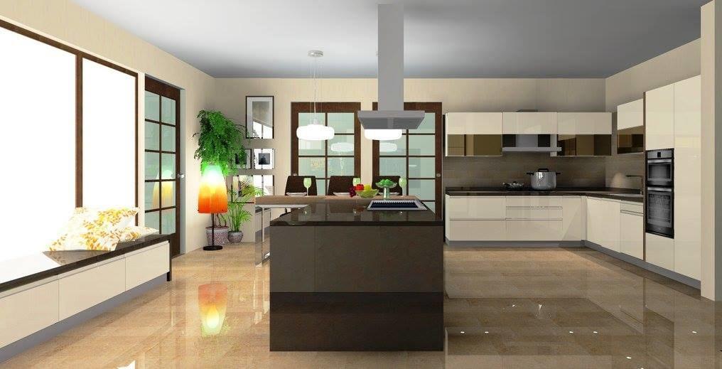 Marble Top Wooden Cabinets In Kitchen by Delixi Designs Modular-kitchen Modern | Interior Design Photos & Ideas