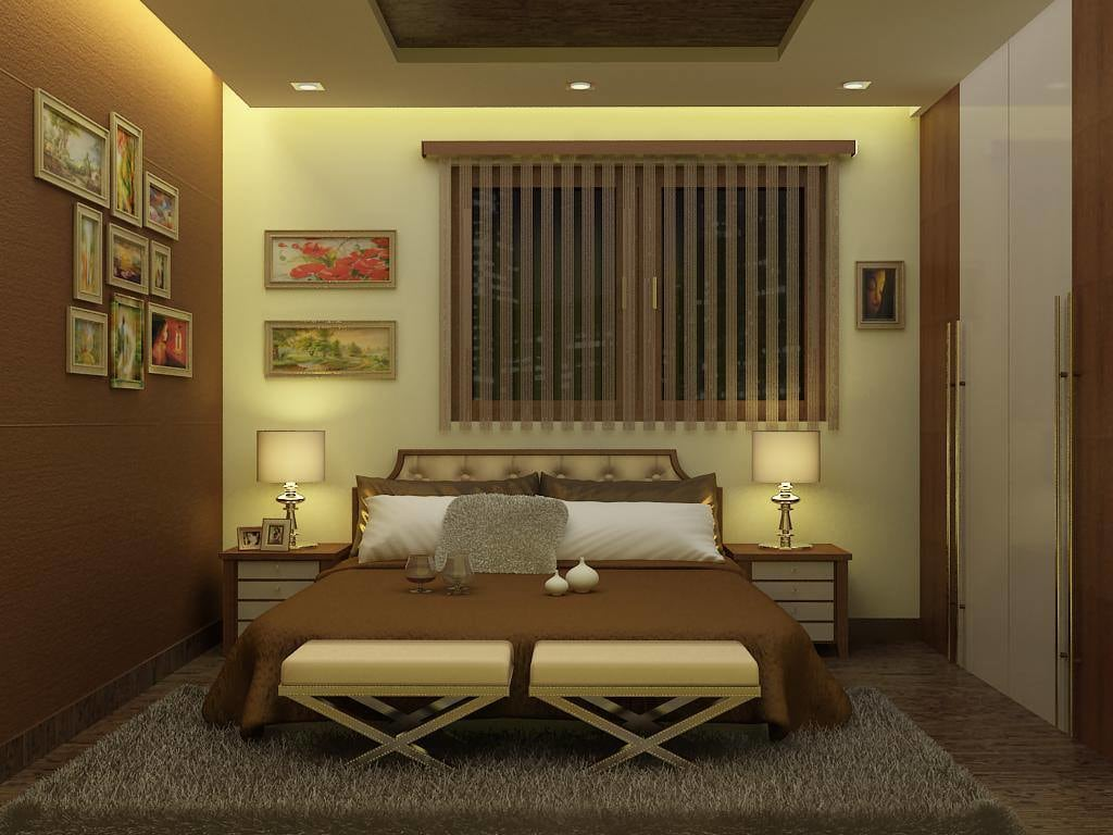 Brown Shaded Bedroom With Soft Rug And Wooden Wardrobe by Delixi Designs Bedroom Modern | Interior Design Photos & Ideas
