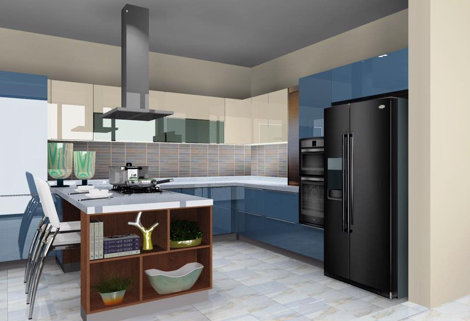 Blue Shaded Modular U-Shaped Kitchen by Delixi Designs Modular-kitchen Modern | Interior Design Photos & Ideas