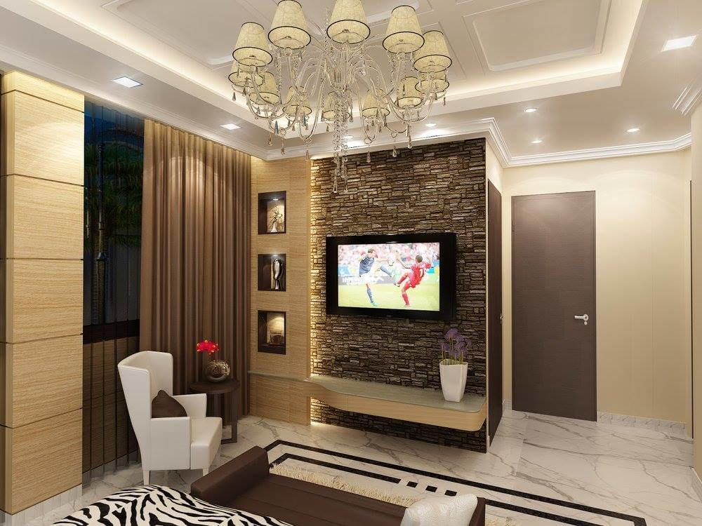 White  lounge chair  and  Tv unit  and false ceiling by Delixi Designs Living-room Modern | Interior Design Photos & Ideas