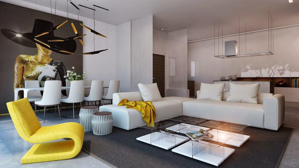 L shape sofa  with white cushions and yellow lounge chair by Delixi Designs Living-room Modern | Interior Design Photos & Ideas