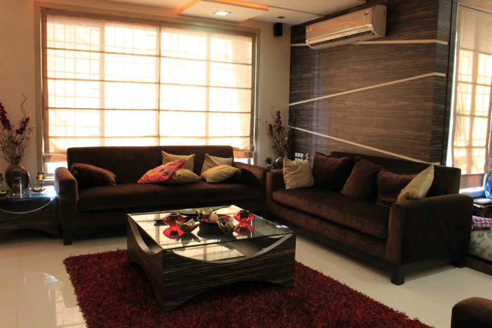 Brown Velvet Sofas And Glass Top Table by Sagar Shah Living-room Contemporary | Interior Design Photos & Ideas