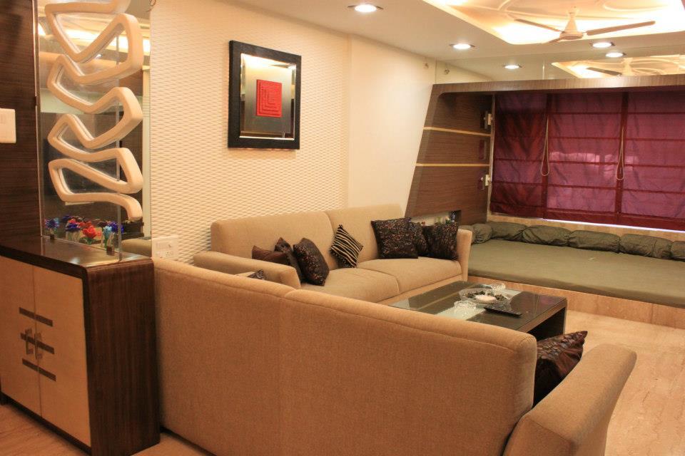 Brown Lawson Sofas With Wooden  Table by Sagar Shah Living-room Contemporary | Interior Design Photos & Ideas