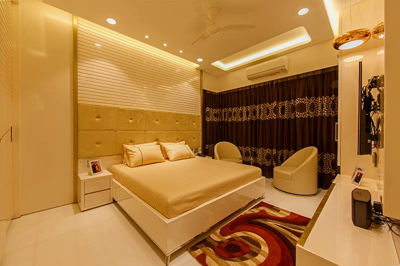 Beige Cushioned Bed With Chairs by Sagar Shah Bedroom Contemporary | Interior Design Photos & Ideas