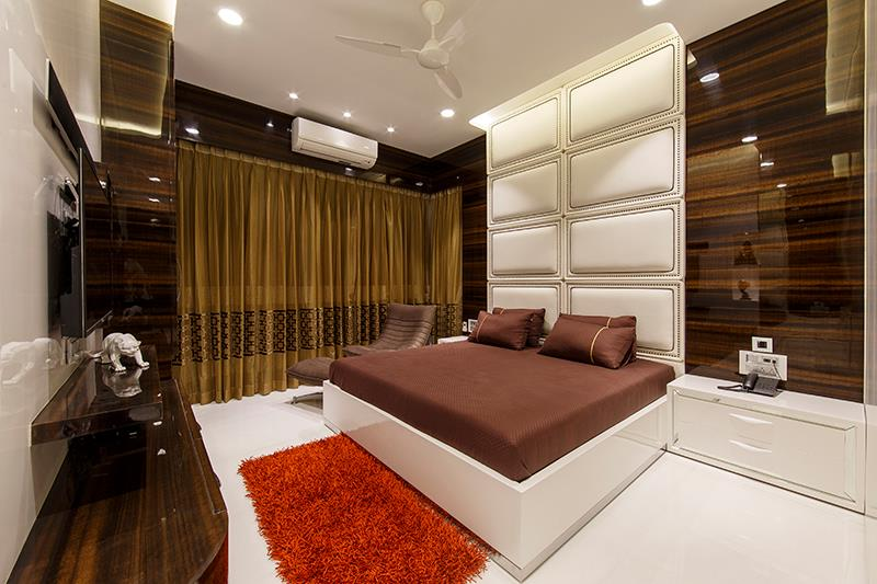 White Wooden Bed With Red Soft Carpet by Sagar Shah Bedroom Contemporary | Interior Design Photos & Ideas