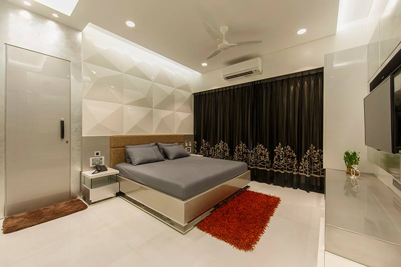 Grey Shaded Bed With Marble Flooring by Sagar Shah Bedroom Modern | Interior Design Photos & Ideas