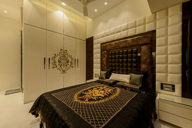 Brown Cushioned Head Cover With White Fitted Wardrobe by Sagar Shah Bedroom Contemporary | Interior Design Photos & Ideas