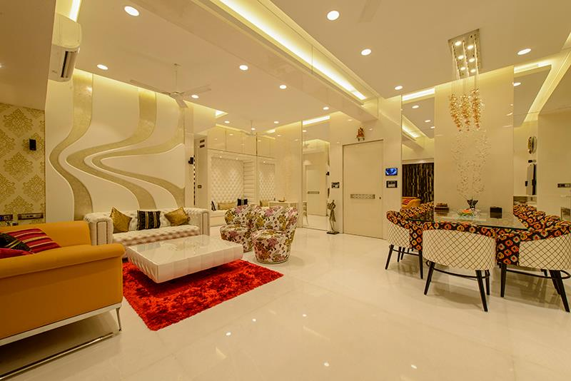 Beige Sofa With White Centre Table and Red Carpet by Sagar Shah Living-room Contemporary | Interior Design Photos & Ideas