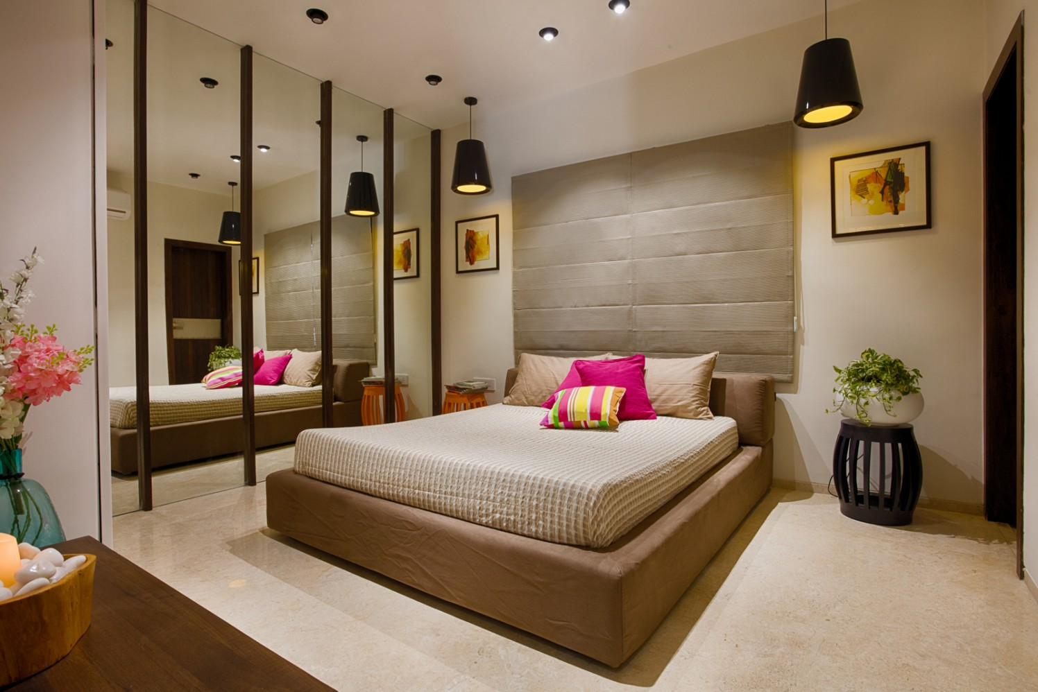 Fuchsia Elements In Beige Master Bedroom with Mirror Wall and Hanging Lights by Dhaval Patel Bedroom Minimalistic | Interior Design Photos & Ideas