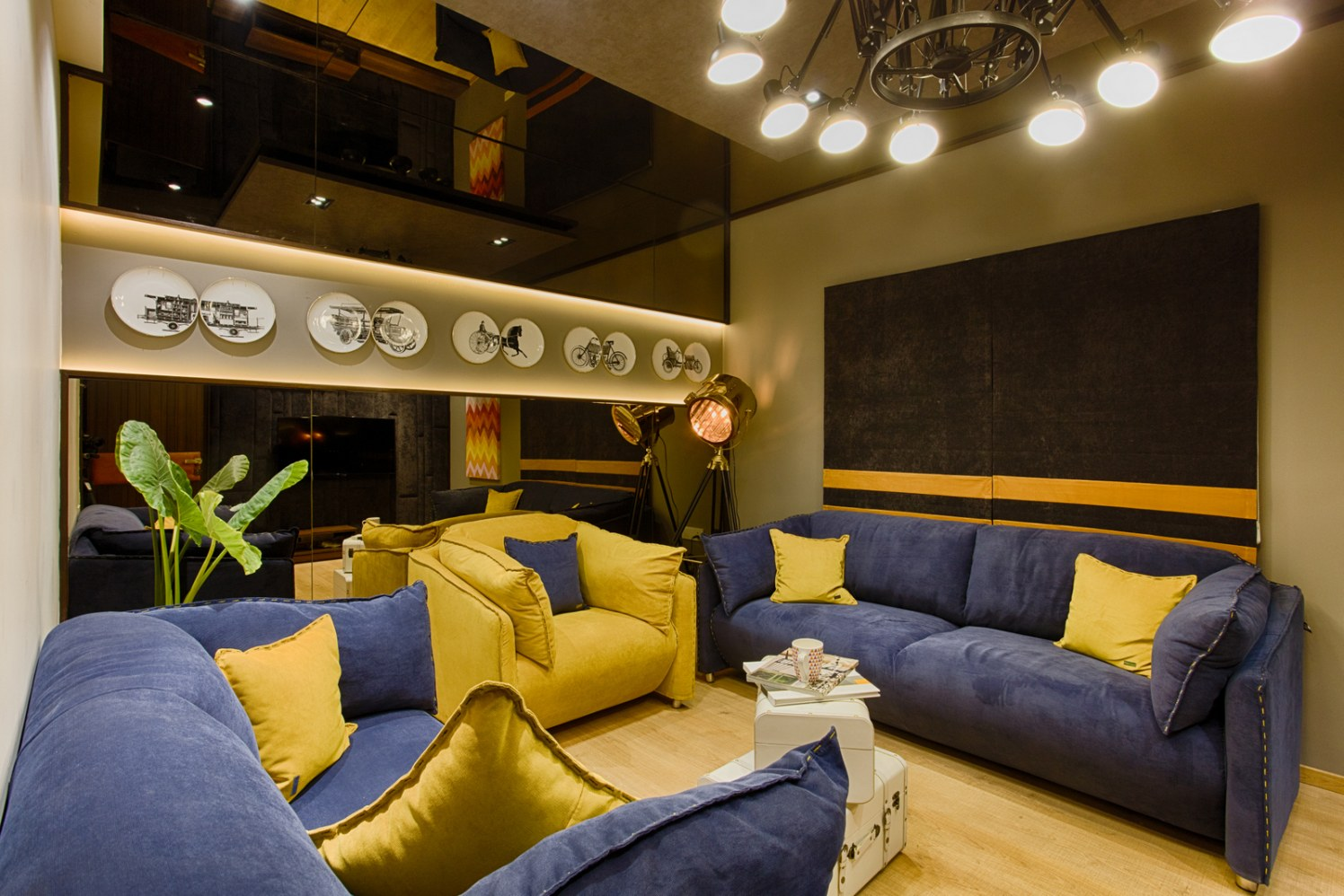 Azure Blue And Bright Yellow Sofa Set In Entertainment Area by Dhaval Patel Living-room Modern   Interior Design Photos & Ideas