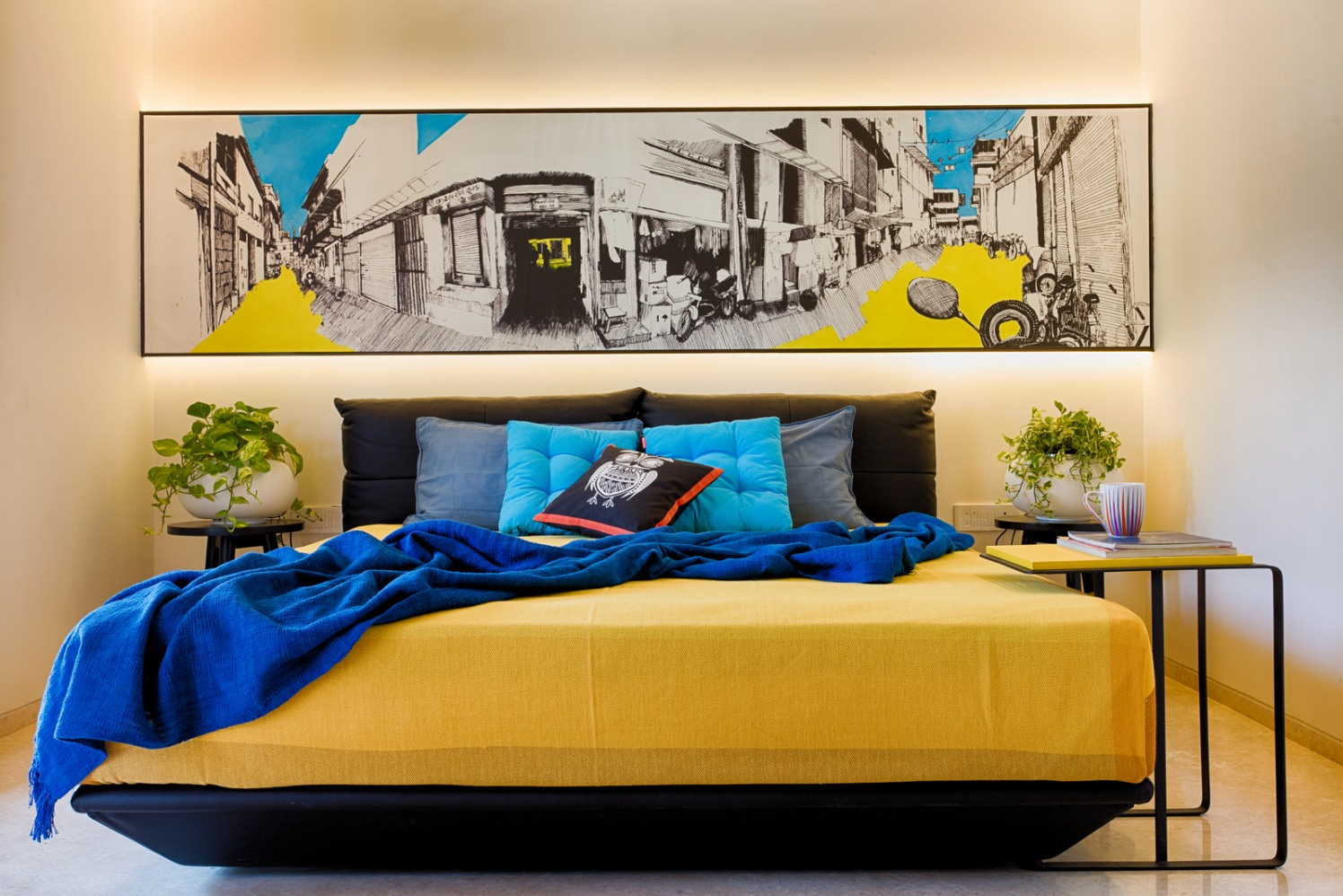 Spectacular Yellow Master Bedroom with Abstract Wall Art by Dhaval Patel Bedroom Modern | Interior Design Photos & Ideas