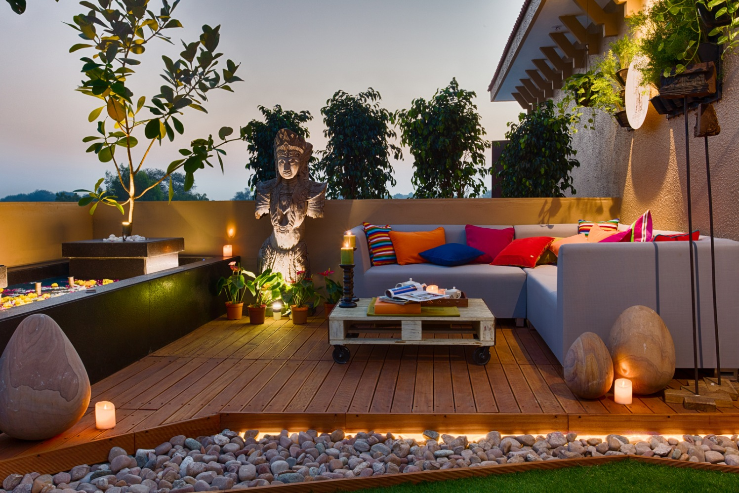Cornflower Blue L-Shape Couch And Wooden Deck On Elegant Terrace by Dhaval Patel Open-spaces Contemporary   Interior Design Photos & Ideas