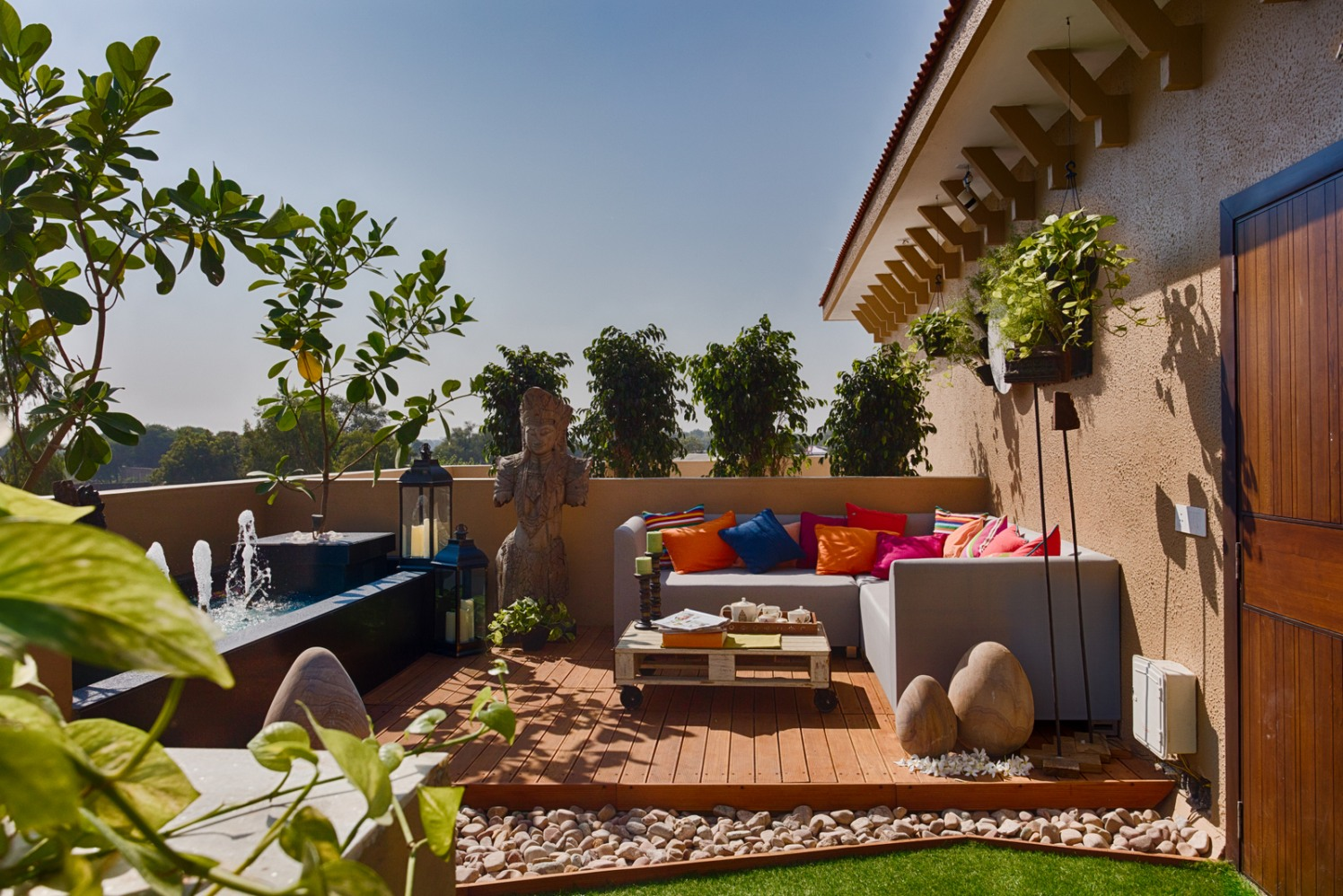 Roof Top Decor And with Ample of House Plants and Colorful Decors by Dhaval Patel Open-spaces Contemporary | Interior Design Photos & Ideas