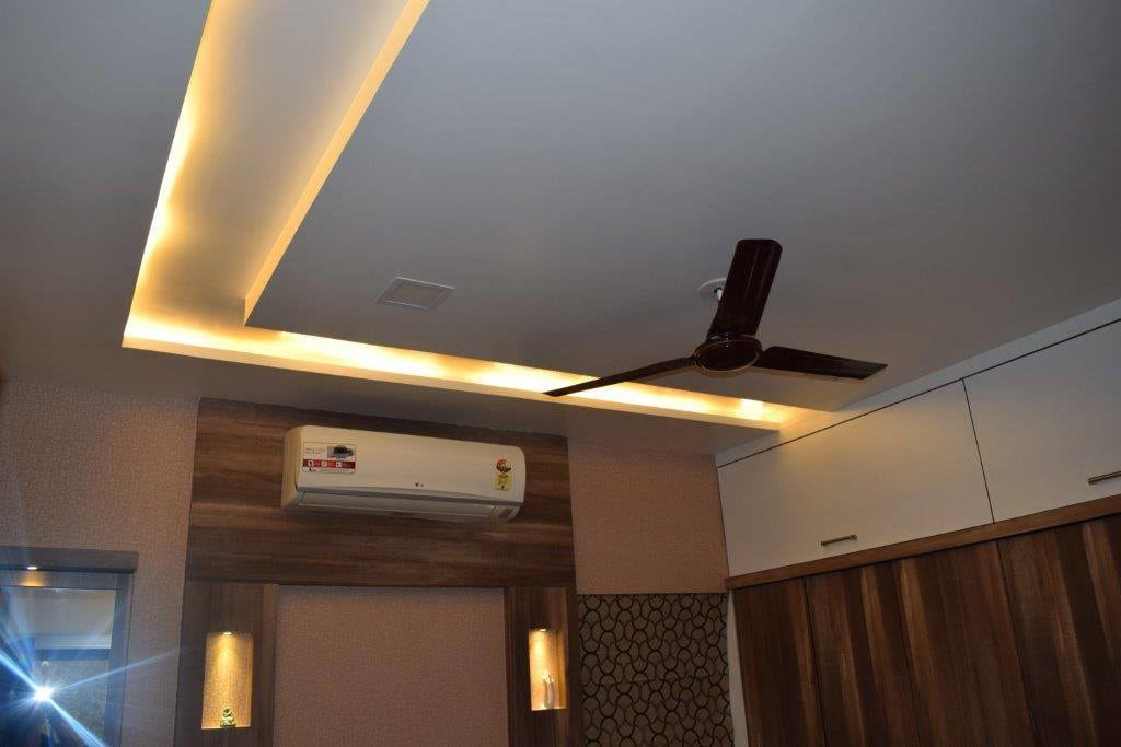 False Ceiling  With Acsent Lighting by color's interio Living-room Contemporary | Interior Design Photos & Ideas