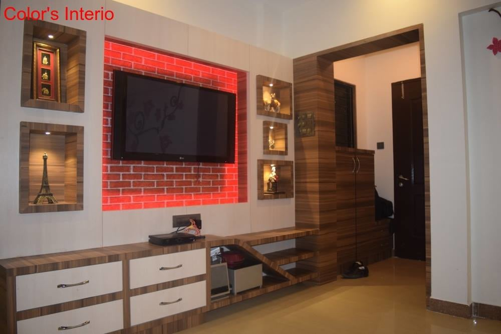 White And Brown Ply Wood TV Cabinets by color's interio Living-room Contemporary | Interior Design Photos & Ideas
