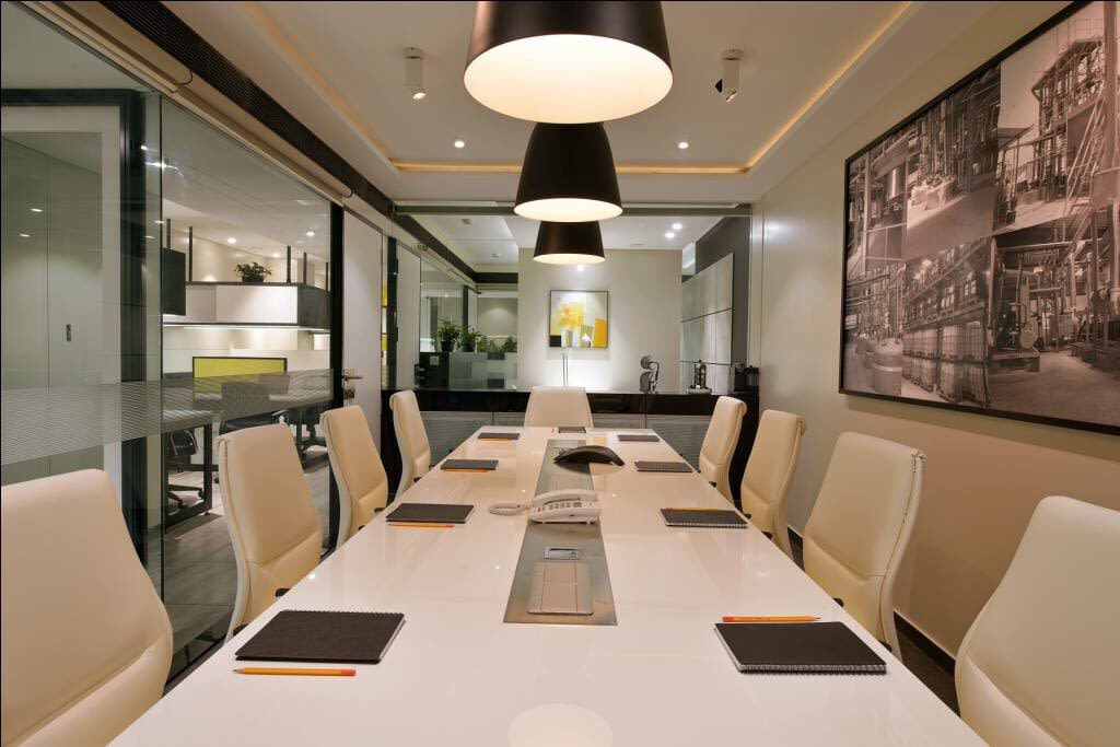 Cream color Conference room  with false ceiling by kavita.dhotre Modern | Interior Design Photos & Ideas