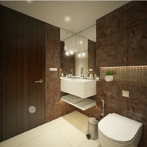Bathroom with marble flooring and brown wall by kavita.dhotre Bathroom Modern | Interior Design Photos & Ideas