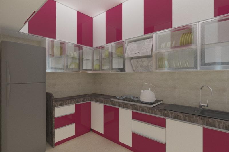 Trendy L-Shaped Modular Kitchen With White and Cherry Red Cabinets by Anuradha sachin Kashikedar Modular-kitchen Modern | Interior Design Photos & Ideas
