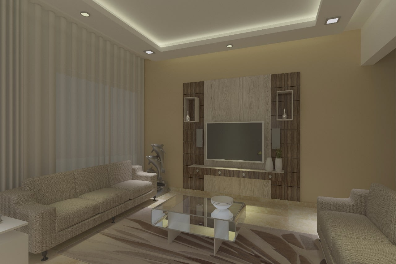 Neutral Toned Living Room With Beige Shaded Lawsons Sofa by Anuradha sachin Kashikedar Living-room Modern | Interior Design Photos & Ideas