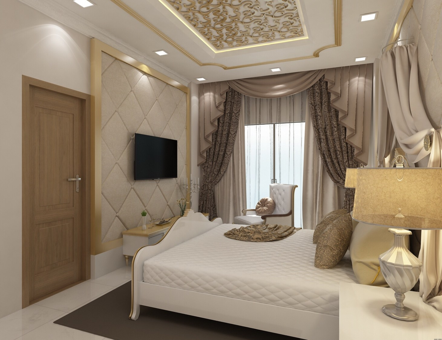 Royal Bedroom With Touch Of  Gold And White by setu.patel Bedroom | Interior Design Photos & Ideas