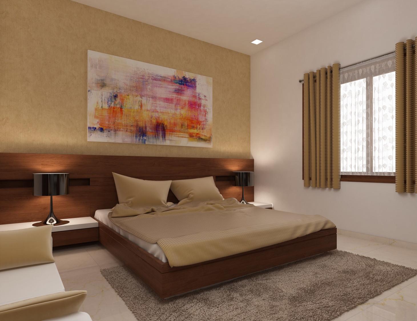Beige Colored Bedroom by setu.patel Bedroom | Interior Design Photos & Ideas