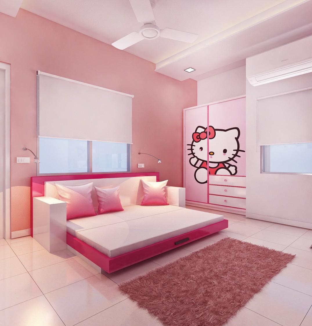 Pink Bedroom Design For Girls by setu.patel Bedroom   Interior Design Photos & Ideas