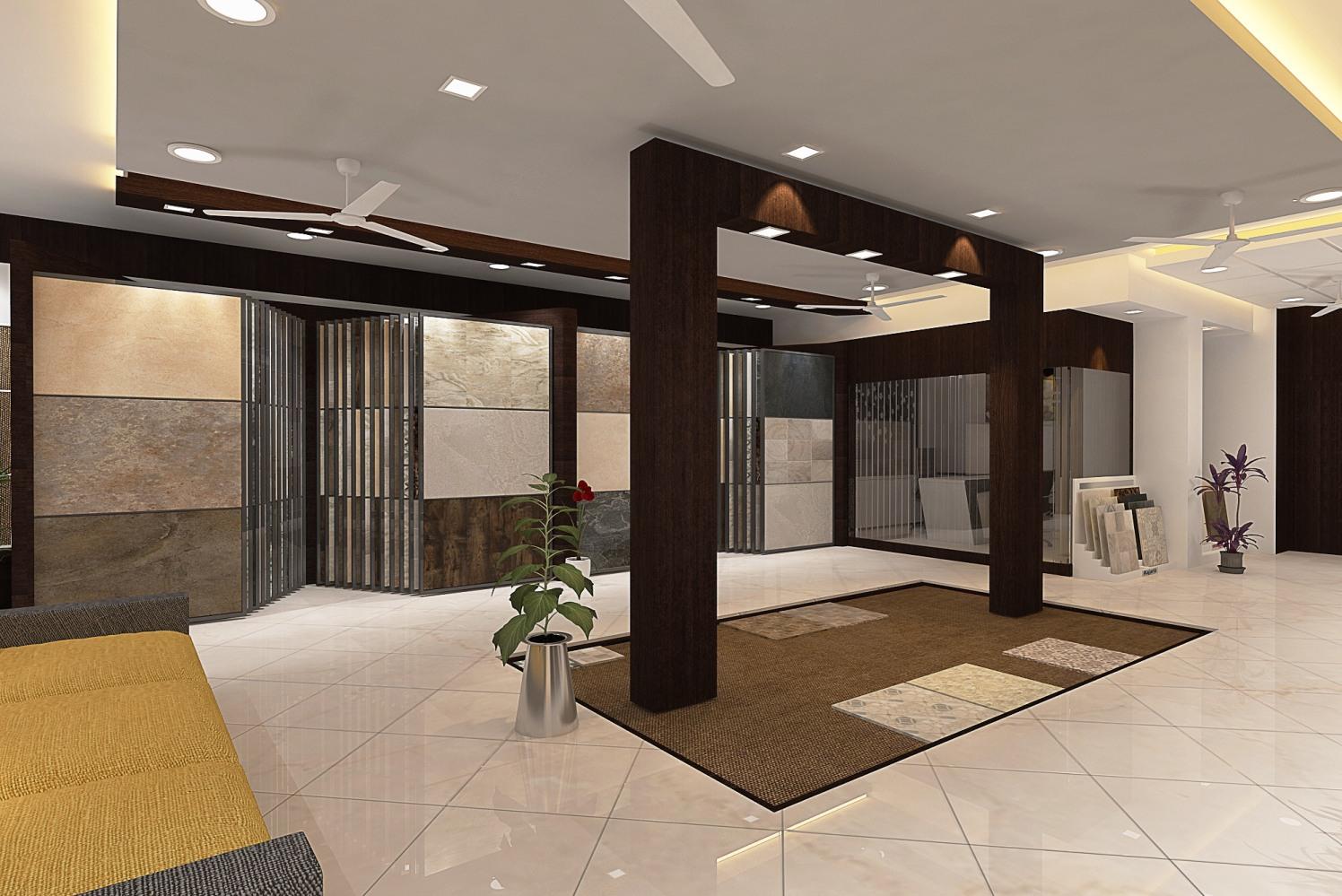 Showroom With Marble Tiles by setu.patel | Interior Design Photos & Ideas