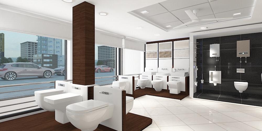 Modern White Showroom by setu.patel | Interior Design Photos & Ideas