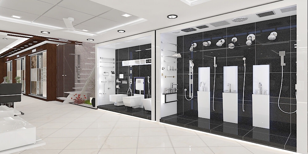 Glassy Sleek Showroom design by setu.patel | Interior Design Photos & Ideas