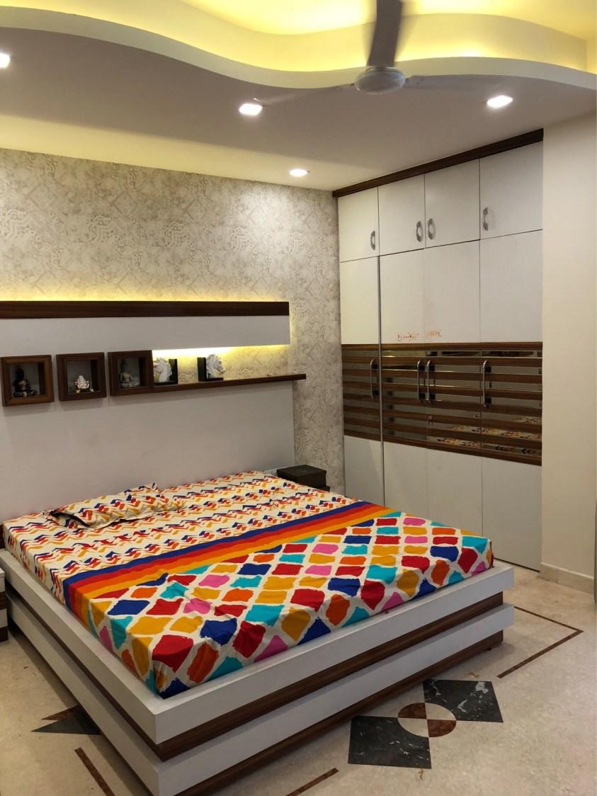 Bedroom With Pale Shades Interiors by Vaibhav gaba Bedroom Contemporary | Interior Design Photos & Ideas