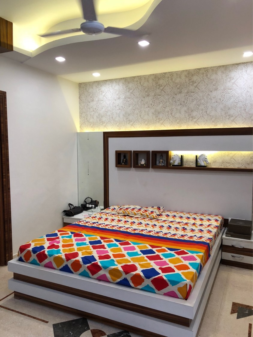Artistic False Ceiling And Wooden Bed In Bedroom by Vaibhav gaba Bedroom Contemporary | Interior Design Photos & Ideas