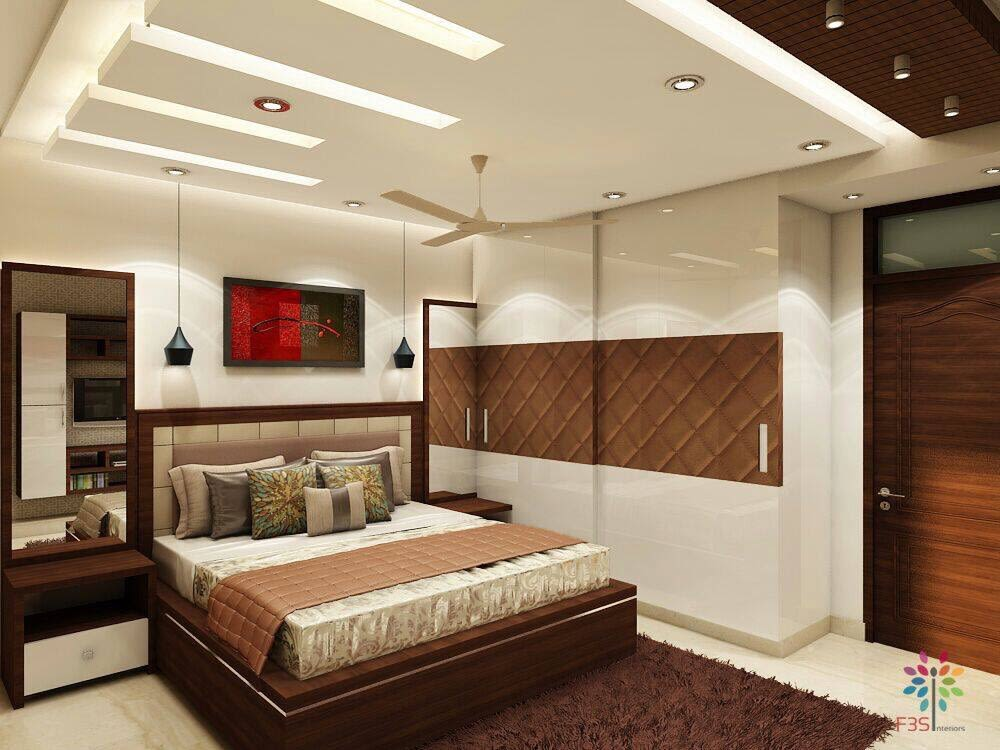 Wooden Bed And Pale Shade Interiors In Bedroom by Vaibhav gaba Bedroom Contemporary | Interior Design Photos & Ideas