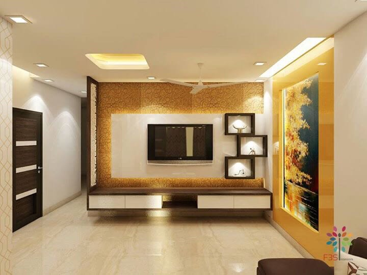 Marble Flooring And Wooden Display Unit In Living Room by Vaibhav gaba Living-room Contemporary | Interior Design Photos & Ideas