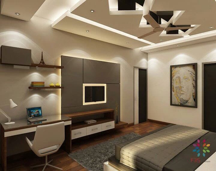 Wooden Study Table With Artistic False Ceiling In Bedroom by Vaibhav gaba Bedroom Contemporary | Interior Design Photos & Ideas