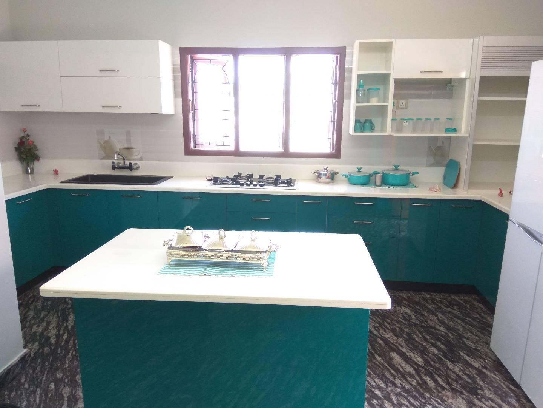 Modular kitchen with torquiose shades by Syed Illias Modular-kitchen Contemporary | Interior Design Photos & Ideas